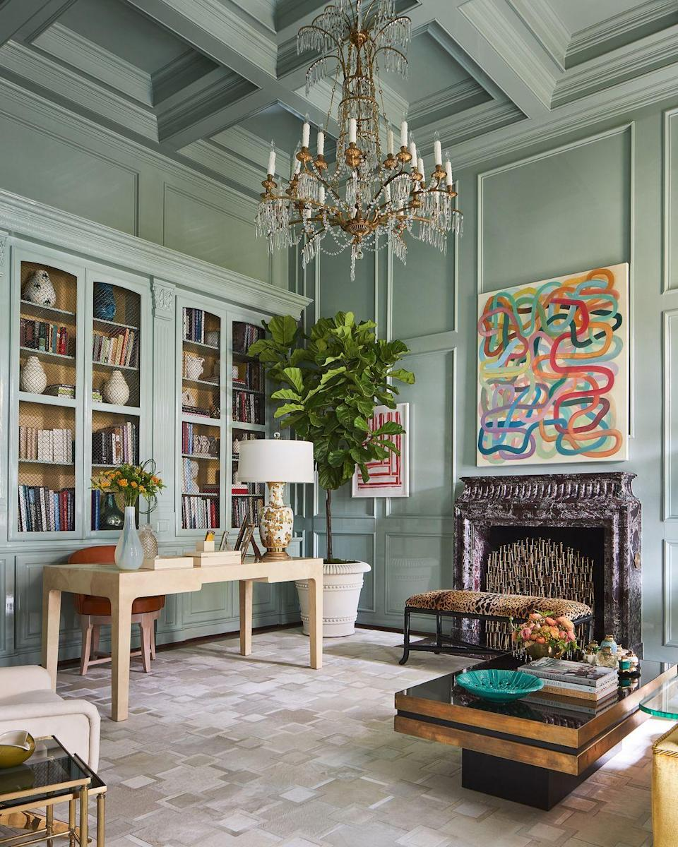 "<p>Designer Jan Showers creates a perfect marriage of the wild and artistic with the refined and sophisticated in this study for the<a href=""https://www.veranda.com/decorating-ideas/house-tours/a34108482/kips-bay-dallas-show-house-2020/"" rel=""nofollow noopener"" target=""_blank"" data-ylk=""slk:2020 Kips Bay Show House"" class=""link rapid-noclick-resp""> 2020 Kips Bay Show House</a> in Dallas. You can just imagine Jackie O. penning letters to loved ones in here while admiring the contemporary art, classic antiques, and the one-of-a-kind chandelier.</p>"