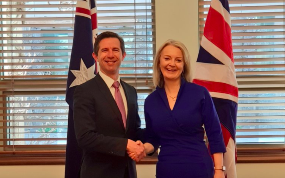 Liz Truss, pictured with Australian counterpart Simon Birmingham, said freedom of movement between the two countries is a possibility (Twitter)