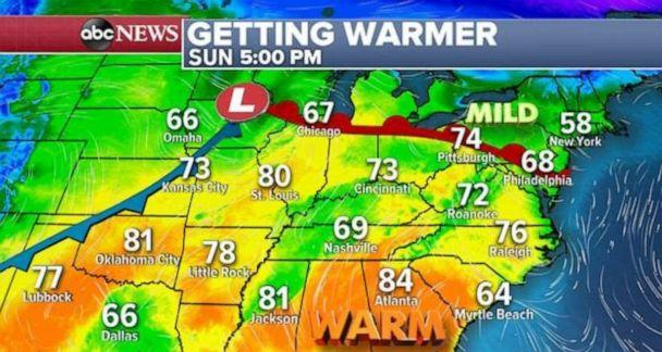 PHOTO: Warmer temperatures are expected on Sunday. (ABC News)