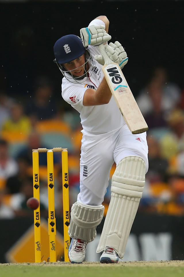 BRISBANE, AUSTRALIA - NOVEMBER 24:  Joe Root of England bats during day four of the First Ashes Test match between Australia and England at The Gabba on November 24, 2013 in Brisbane, Australia.  (Photo by Mark Kolbe/Getty Images)
