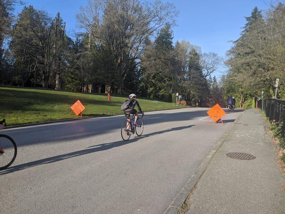 Cyclists take advantage of a closed road in Vancouver's Stanley Park.  (Photo: Vancouver Park Board)