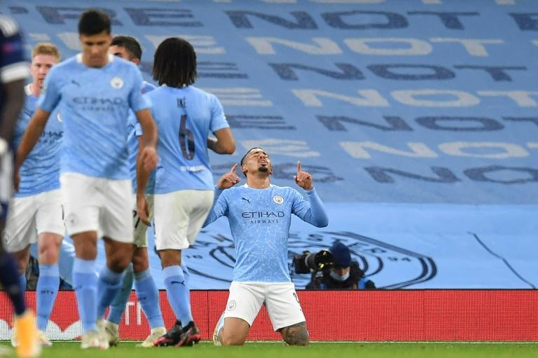 Gabriel Jesus (right)scored on his return from injury in Manchester City's 3-0 win over Olympiakos