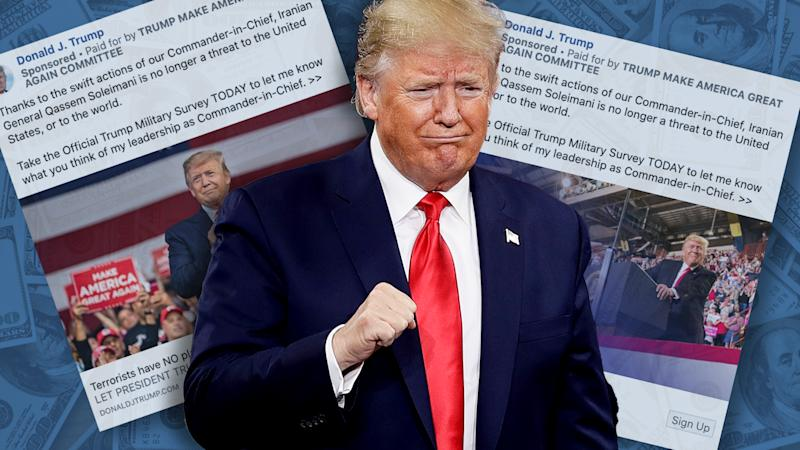President Trump, and his campaign's Facebook ads. (Photo illustraton: Yahoo News; photos: AP, via Facebook, Getty Images)