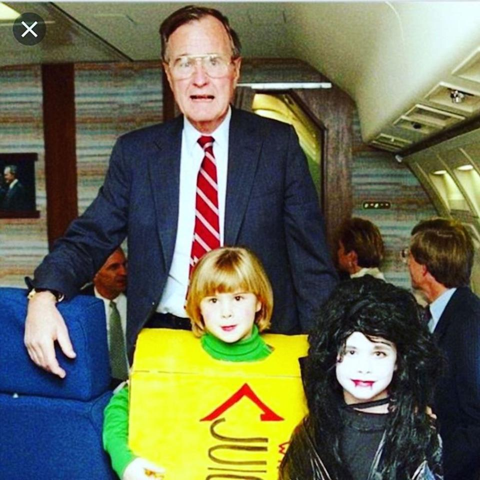 Jenna Bush Hager (front right) as a child with grandfather George H. W. Bush (back) and her twin sister Barbara Pierce Bush (right) on Halloween.   Jenna Bush Hager/Instagram