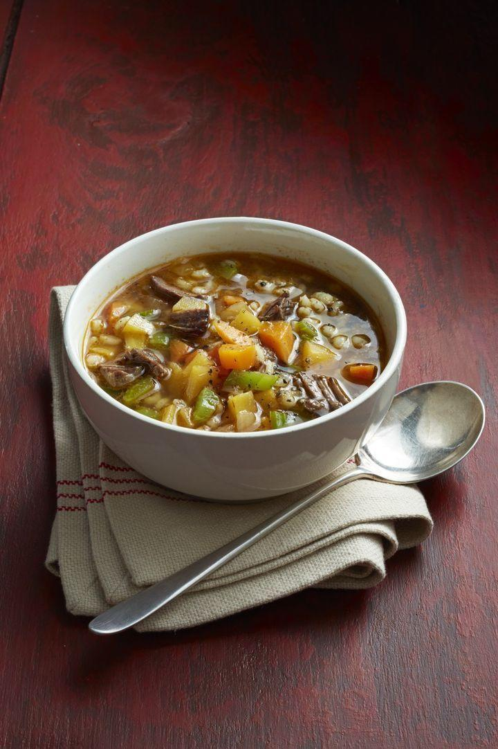"""<p>This hearty soup will be sure to fill up even the hungriest kids post-soccer practice. With its chunks of beef and veggies it will quickly become a family favorite. </p><p><strong><em><a href=""""https://www.womansday.com/food-recipes/food-drinks/recipes/a12880/beef-barley-soup-recipe-wdy1014/"""" rel=""""nofollow noopener"""" target=""""_blank"""" data-ylk=""""slk:Get the Beef and Barley Soup recipe."""" class=""""link rapid-noclick-resp"""">Get the Beef and Barley Soup recipe. </a></em></strong></p><p><a class=""""link rapid-noclick-resp"""" href=""""https://www.amazon.com/AmazonBasics-Enameled-Covered-Dutch-6-Quart/dp/B073Q9K2H3/ref=sr_1_7?dchild=1&keywords=dutch+oven&qid=1606936195&sr=8-7&tag=syn-yahoo-20&ascsubtag=%5Bartid%7C10070.g.34837515%5Bsrc%7Cyahoo-us"""" rel=""""nofollow noopener"""" target=""""_blank"""" data-ylk=""""slk:SHOP DUTCH OVENS"""">SHOP DUTCH OVENS</a><strong><br></strong></p>"""