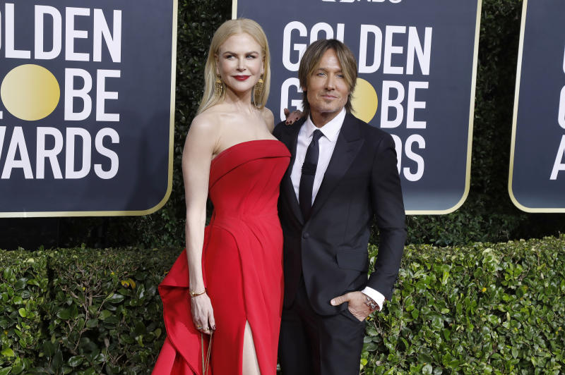 Nicole Kidman and Keith Urban photographed on the red carpet of the 77th Annual Golden Globe Awards at The Beverly Hilton Hotel on January 05, 2020 in Beverly Hills, California