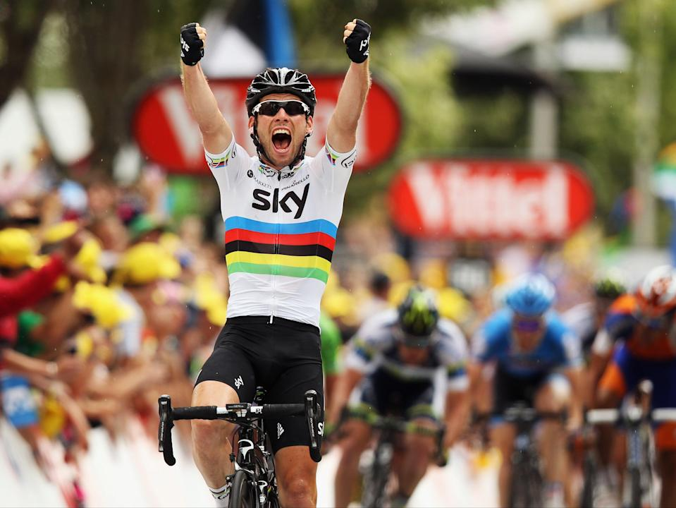 Mark Cavendish celebrates winning stage 18 at the 2012 Tour (Getty Images)
