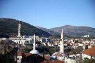 General view of mosques and churches in Mostar