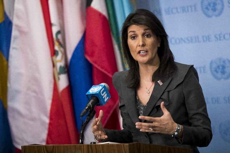 """US ambassador to the United Nations Nikki Haley is urging Russia to use its leverage to """"push the Assad regim to do what it plainly does not want to do"""""""