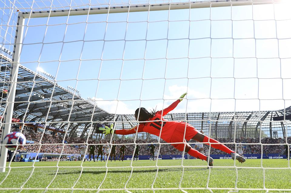 Chiamaka Nnadozie of Nigeria fails to save from Sara Daebritz of Germany, who scores Germany's second goal from a penalty during the 2019 FIFA Women's World Cup France Round Of 16 match between Germany and Nigeria at Stade des Alpes on June 22, 2019 in Grenoble, France. (Photo by Elsa/Getty Images)