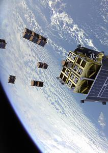 ION Satellite Carrier is a cargo spacecraft that can transport satellites in orbit and release them individually into distinct orbital slots. A rendering of ION is seen here in front of Scotland, a photo taken from ION on a recent mission.