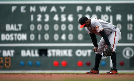 Baltimore Orioles' Jonathan Schoop waits between pitches during the eighth inning of a baseball game against the Boston Red Sox in Boston, Sunday, May 20, 2018. (AP Photo/Michael Dwyer)