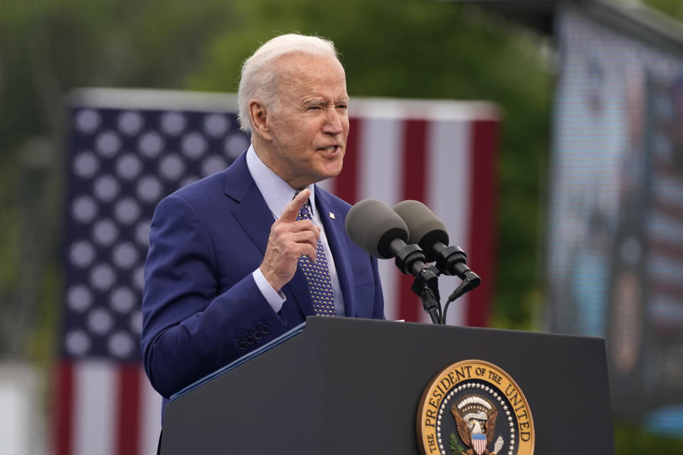 FILE - President Joe Biden speaks during a rally at Infinite Energy Center, to mark his 100th day in office, Thursday, April 29, 2021, in Duluth, Ga. On Friday, April 30, The Associated Press reported on stories circulating online incorrectly claiming Biden's plan to combat climate change will require Americans to limit their meat consumption by 90%, to just 4 pounds of red meat annually or one hamburger per month. (AP Photo/Evan Vucci, File)