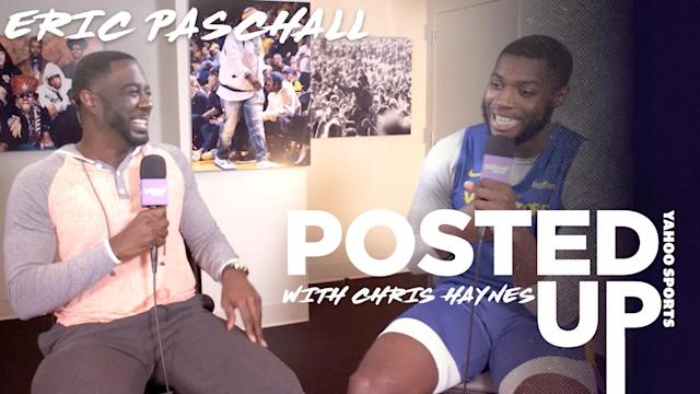 Golden State Warriors forward Eric Paschall chats with Chris Haynes.