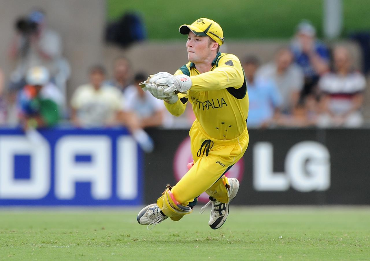 TOWNSVILLE, AUSTRALIA - AUGUST 26:  Cameron Bancroft of Austalia catches the ball during the 2012 ICC U19 Cricket World Cup Final between Australia and India at Tony Ireland Stadium on August 26, 2012 in Townsville, Australia.  (Photo by Matt Roberts/Getty Images)