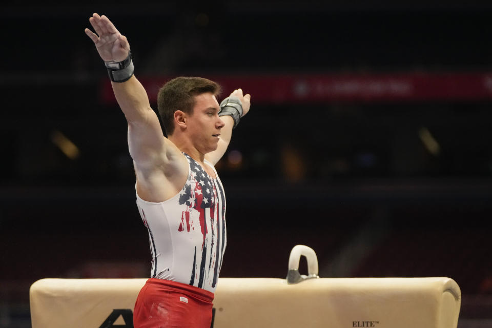 Brody Malone lands after competing on the pommel horse during the men's U.S. Olympic Gymnastics Trials Saturday, June 26, 2021, in St. Louis. (AP Photo/Jeff Roberson)