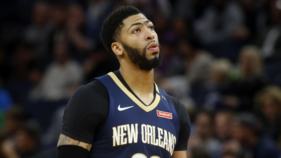It's going to take a lot more than this to get the Pelicans to give up Anthony Davis. (AP Photo/Jim Mone)