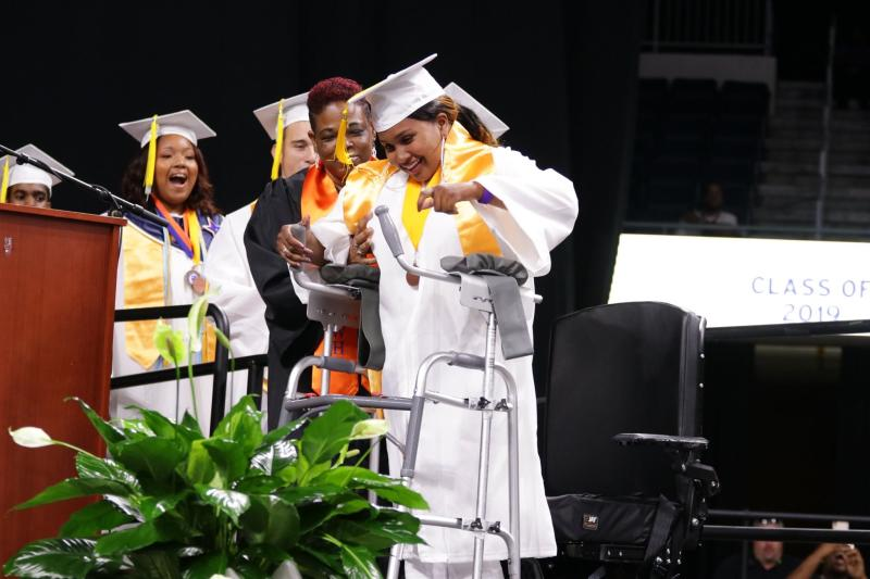 Nada Edwards walked across the Old Dominion University stage to graduate with the Woodrow Wilson High School Class of 2019. (Credit: Portsmouth Public Schools)