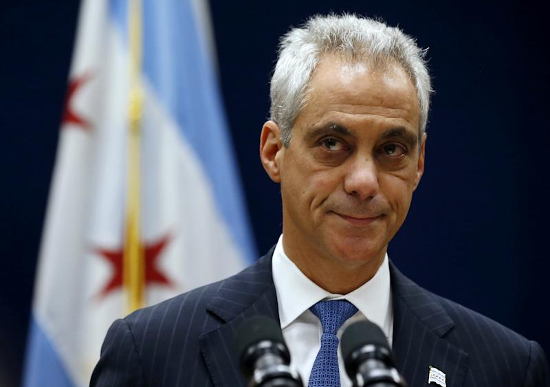 FILE PHOTO - Chicago Mayor Rahm Emanuel listens to remarks at a news conference in Chicago, Illinois, U.S. on December 7, 2015.  REUTERS/Jim Young/File Photo