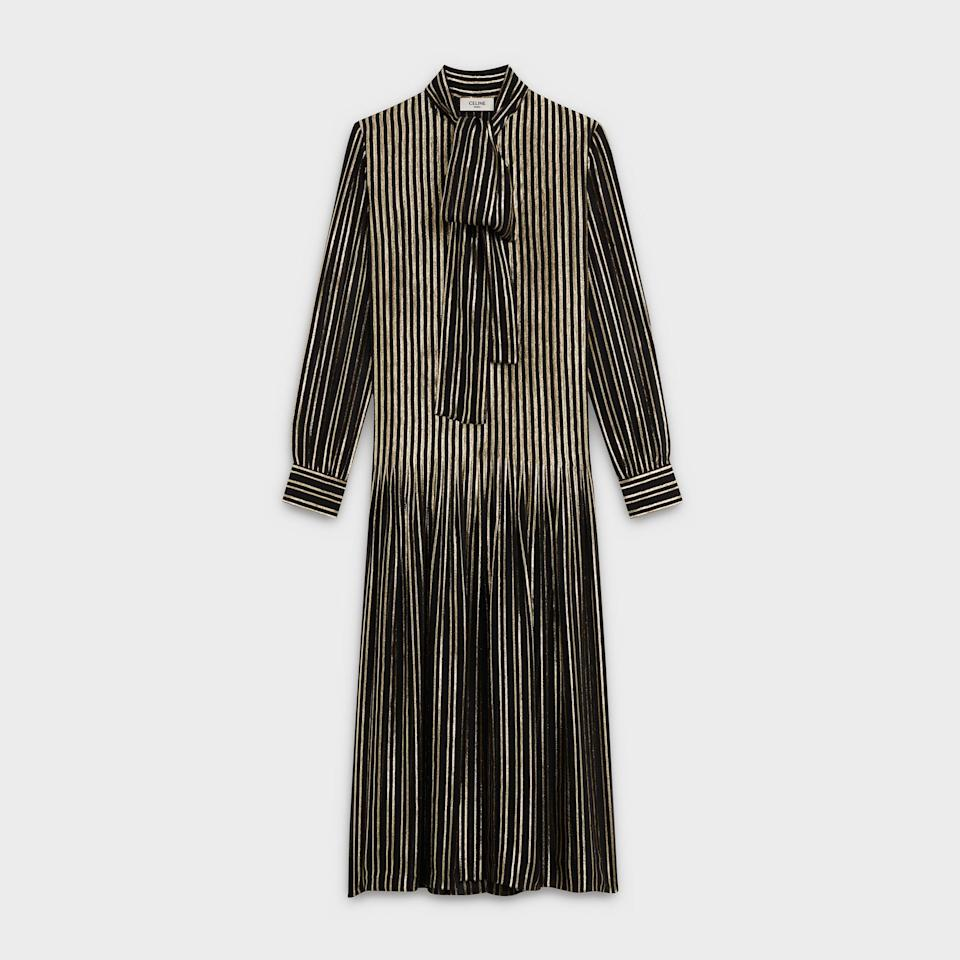 <p><span>Celine Long Pleated Dress With Lavalliere Collar in Silk and Lurex</span> ($4,666)</p>