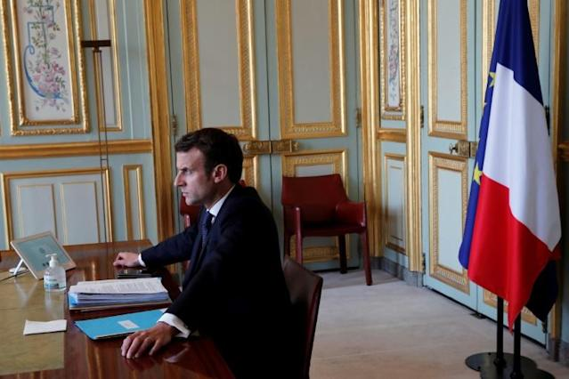 French President Emmanuel Macron also took part in the videoconference (AFP Photo/BENOIT TESSIER)