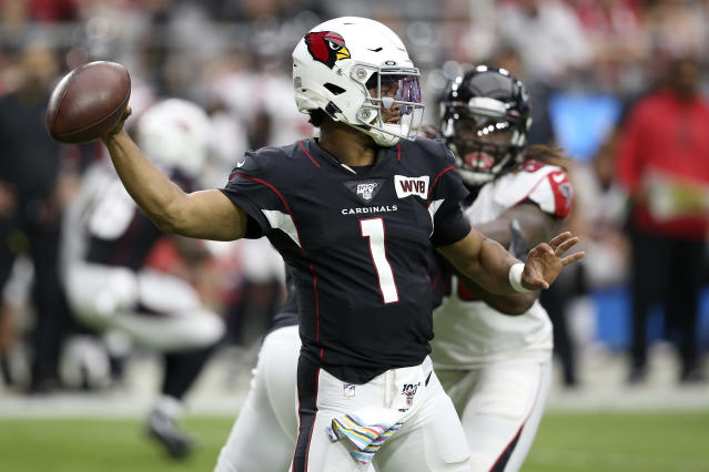 Arizona Cardinals quarterback Kyler Murray (1) throws against the Atlanta Falcons during the first half of an NFL football game, Sunday, Oct. 13, 2019, in Glendale, Ariz. (AP Photo/Ross D. Franklin)