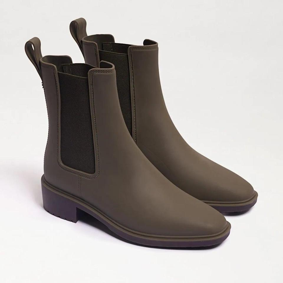 <p>Take on the world in this <span>Sam Edelman Sue Waterproof Rain Boot</span> ($70). It comes in four colors, but we're into the dark green.</p>
