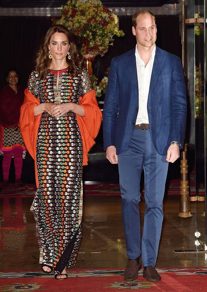 <p>Kate was dressed in a Tory Burch gown during her dinner with the King and Queen of Bhutan. </p>