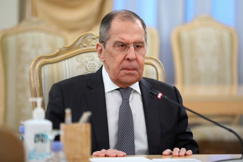 Russia's Foreign Minister Sergei Lavrov meets with Afghanistan's Foreign Minister Mohammad Haneef Atmar in Moscow