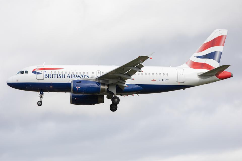 A British Airways Airbus A319 lands at Newcastle Airport in Newcastle Upon Tyne, UK, on April 9th 2021. (Photo by Robert Smith/MI News/NurPhoto via Getty Images)