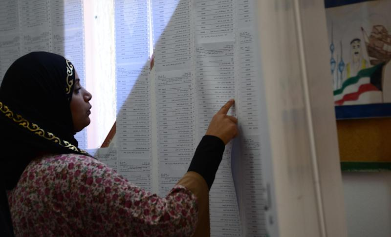A Kuwaiti woman searches for her name on a list of voters at a polling station in Salwa, Kuwait on Saturday, July 27, 2013. Kuwaiti voters braved searing heat in the middle of the dawn-to-dusk Ramadan fast to cast ballots Saturday in parliamentary elections that leaders in the oil-rich Gulf nation hope can restore some stability after years of escalating confrontations between its Western-backed rulers and an Islamist-led opposition. (AP Photo/Gustavo Ferrari)
