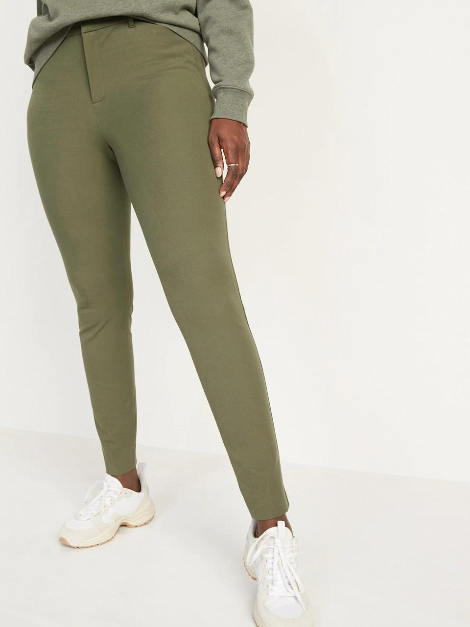 <p>It wasn't easy to pick the most seasonally inspired hue of these <span>Old Navy High-Waisted Pixie Full-Length Pants</span> ($40) as they come in woody brown, maroon, light tan, and a red shade, too.</p>