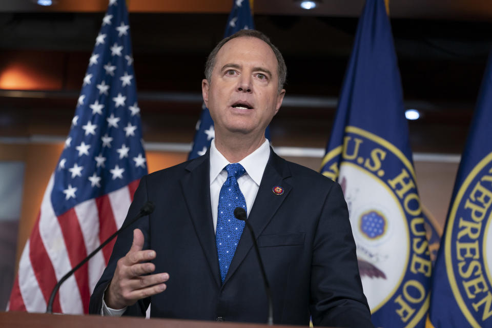 """House Intelligence Committee Chairman Adam Schiff, D-Calif., talks to reporters about the release by the White House of a transcript of a call between President Donald Trump and Ukrainian President Voldymyr Zelenskiy, in which Trump is said to have pushed for Ukraine to investigate former Vice President Joe Biden and his family, at the Capitol in Washington, Wednesday, Sept. 25, 2019. House Speaker Nancy Pelosi, D-Calif., and the Democrats are now launching a formal impeachment inquiry against President Donald Trump. Rep. Schiff characterized Trump's words saying, """"this is how a mafia boss talks."""" (AP Photo/J. Scott Applewhite)"""