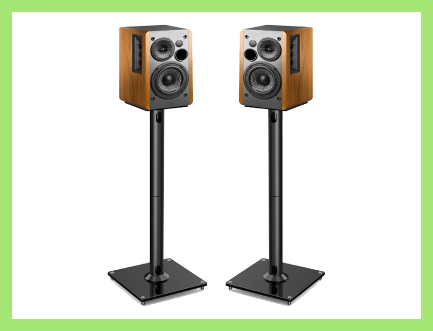 Take your home entertainment center to the next level with these speaker stands (speakers not included). (Photo: Amazon)