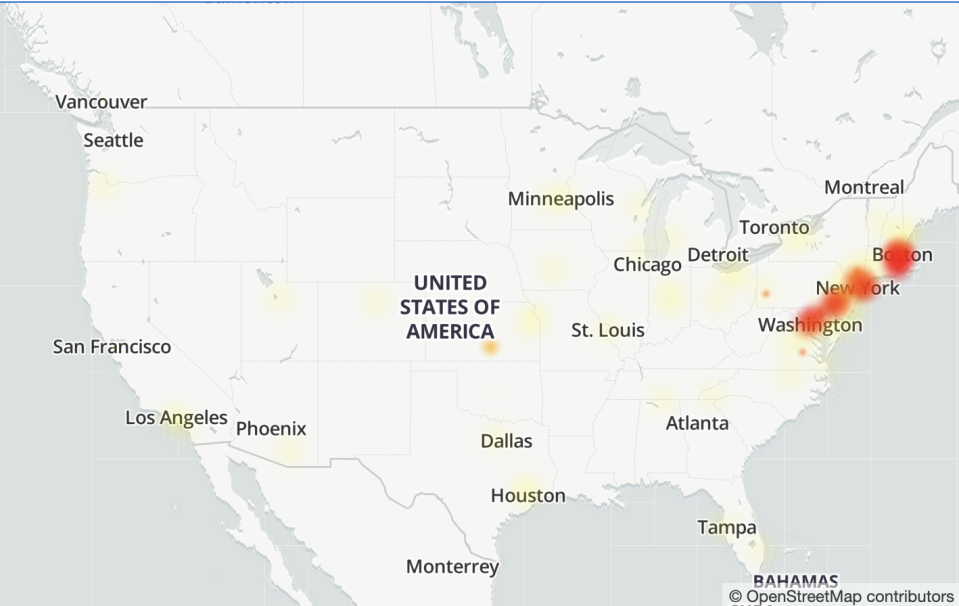 A map of the U.S. east coast showing internet service outages for Google's Gmail. (Image: Downdetector)