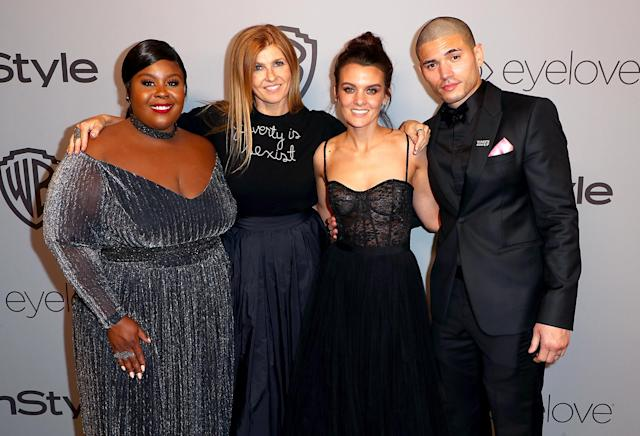 <p>Actors Raven Goodwin, Connie Britton, Frankie Shaw, and Miguel Gomez attend the 2018 InStyle and Warner Bros. party. (Photo: Joe Scarnici/Getty Images for InStyle) </p>