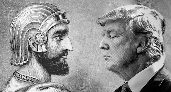 Engraving of Cyrus the Great; President Trump. (Photos: Bettmann/Getty; Saul Loeb/AFP/Getty Images)