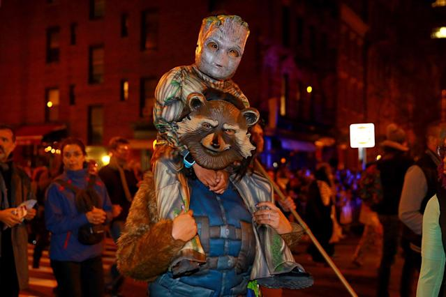 "<p>People wear costumes of characters from the movie ""Guardians of the Galaxy"" in the 44th annual Village Halloween Parade in New York City on Oct. 31, 2017. (Photo: Gordon Donovan/Yahoo News) </p>"