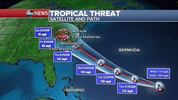 Weather graphic shows the latest Hurricane Florence forecast. (ABC News)