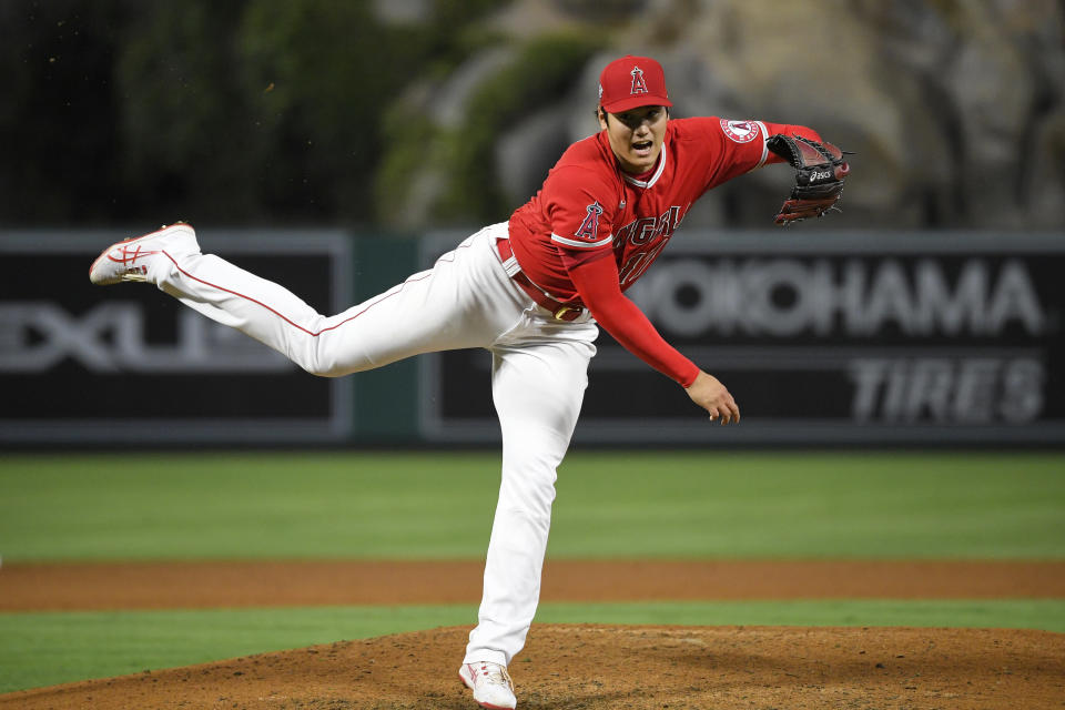Los Angeles Angels starting pitcher Shohei Ohtani throws to the plate during the fifth inning of a baseball game against the Tampa Bay Rays Wednesday, May 5, 2021, in Anaheim, Calif. (AP Photo/Mark J. Terrill)