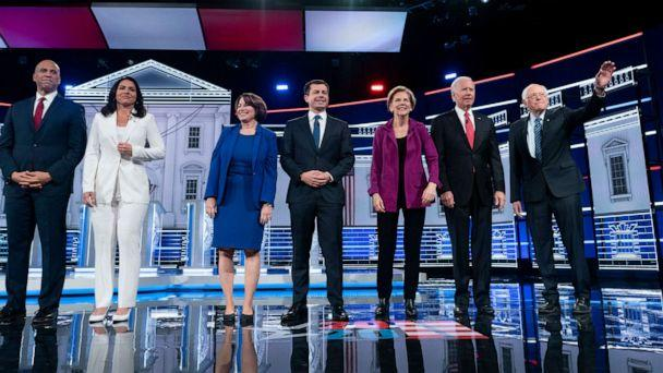 PHOTO: Presidential candidates appear on stage at the start of he Democratic presidential debate at Tyler Perry Studios on Wednesday, November 20, 2019, in Atlanta, Georgia. (Melina Mara/The Washington Post via Getty Images)