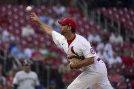 St. Louis Cardinals starting pitcher Adam Wainwright throws during the first inning of a baseball game against the Milwaukee Brewers Tuesday, Aug. 17, 2021, in St. Louis. (AP Photo/Jeff Roberson)