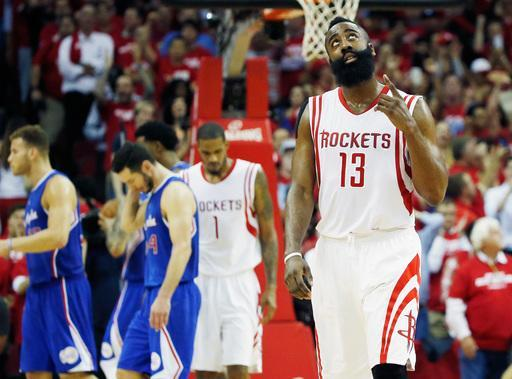 HOUSTON, TX - MAY 06: James Harden #13 of the Houston Rockets walks across the court late in the second half against the Los Angeles Clippers during Game Two in the Western Conference Semifinals of the 2015 NBA Playoffs on May 6, 2015 at the Toyota Center in Houston, Texas. (Photo by Scott Halleran/Getty Images)