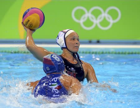 2016 Rio Olympics - Water Polo - Final - Women's Gold Medal Match USA v Italy - Olympic Aquatics Stadium - Rio de Janeiro, Brazil - 19/08/2016. Courtney Mathewson (USA) of USA competes. REUTERS/Laszlo Balogh