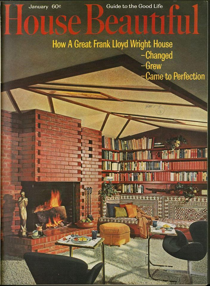 """<p><em>House Beautiful's </em>long relationship with Frank Lloyd Wright is shown in this <a href=""""https://www.housebeautiful.com/design-inspiration/real-estate/a25429873/frank-lloyd-wright-kansas-city-house/"""" rel=""""nofollow noopener"""" target=""""_blank"""" data-ylk=""""slk:Kansas City home"""" class=""""link rapid-noclick-resp"""">Kansas City home </a> which hit the market a few years ago. </p>"""