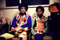 <p>Michael Jackson and his brother Randy (right) backstage at the Inglewood Forum, August 26, 1973.</p>