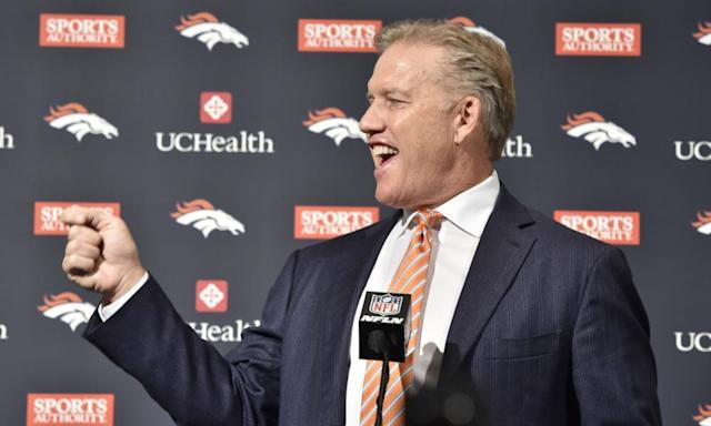 """<span class=""""element-image__caption"""">Broncos general manager John Elway has thrown support behind Neil Gorsuch to be confirmed to the US supreme court.</span> <span class=""""element-image__credit"""">Photograph: Eric Lars Bakke/AP</span>"""
