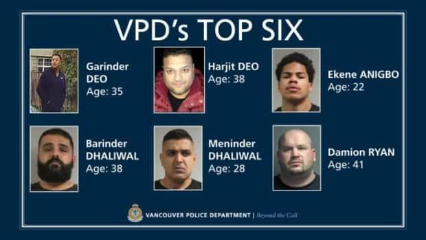 Vancouver police poster of the six men it is warning the public to stay away from. (Vancouver Police Department - image credit)
