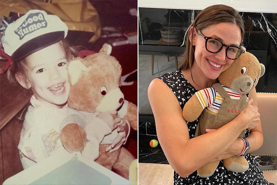 "<p>Garner posted a photo with her teddy bear in honor of National Teddy Bear Day, sharing a side-by-side of herself as a child and now, snuggling her furry friend. </p> <p>""45 years later, you're still my main squeeze,"" <a href=""https://www.instagram.com/p/CE7eKisDNYu/"" rel=""nofollow noopener"" target=""_blank"" data-ylk=""slk:the actress wrote"" class=""link rapid-noclick-resp"">the actress wrote</a>. </p>"
