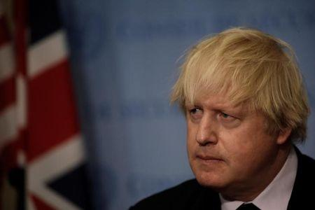 British Foreign Secretary Boris Johnson speaks to reporters after chairing a United Nations Security Council meeting at U.N. headquarters in New York